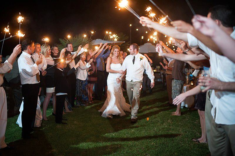 Nighttime wedding reception with sparklers